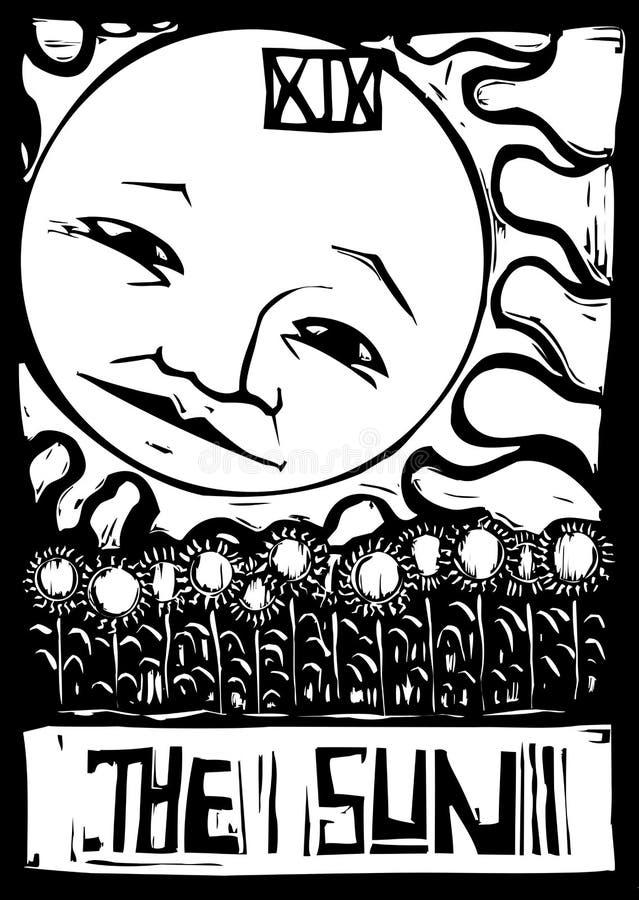 Sun Tarot ilustração stock