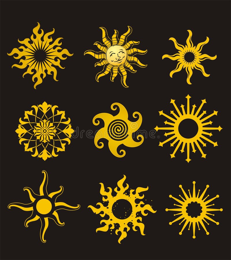 Sun tatuering vektor illustrationer
