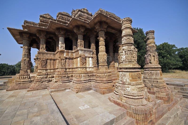 Sun-Tempel bei Modhera, Indien stockbild
