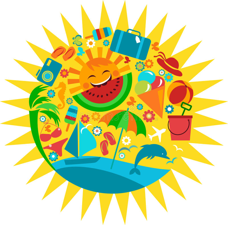Sun with template of summer icons