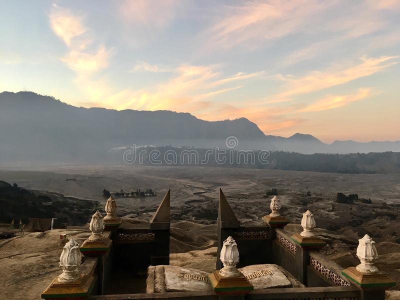 Sun Temple. Taken near Mount Bromo looking over the desert of volcanic ash stock photography
