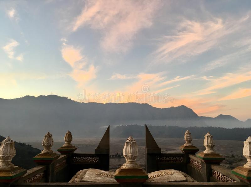 Sun Temple. Taken near Mount Bromo looking over the desert of volcanic ash royalty free stock photo