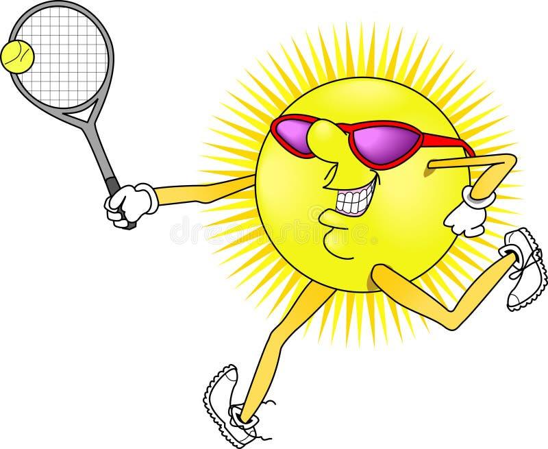 Sun_tennis. Raster cartoon graphic depicting an outdoor Summer activity: Tennis stock illustration