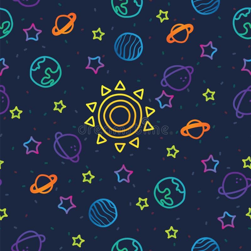 Sun, terra do planeta e estrelas do espaço na obscuridade - fundo azul do teste padrão Teste padrão sem emenda do planeta cósmico ilustração do vetor