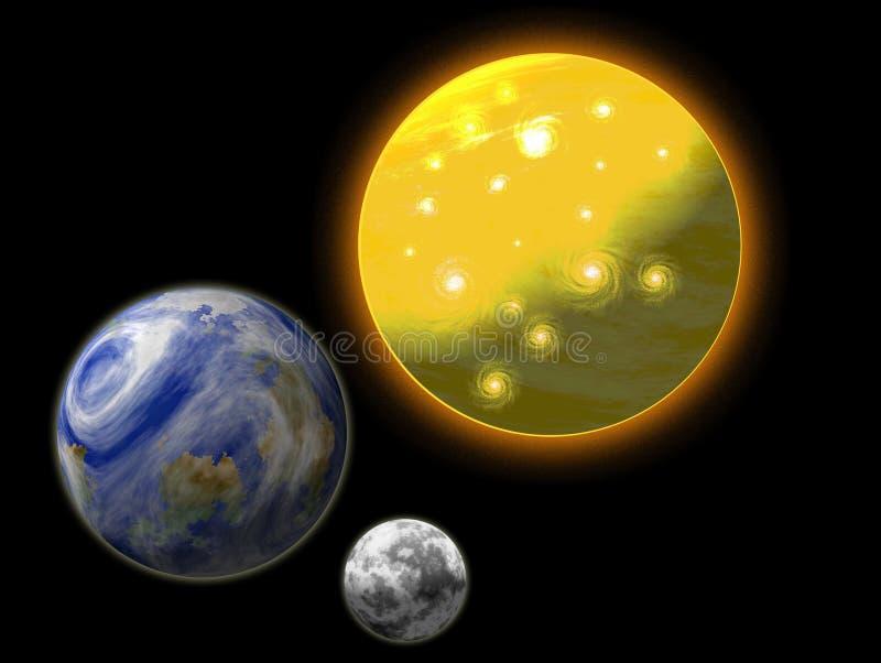 Sun, terra e lua ilustração royalty free
