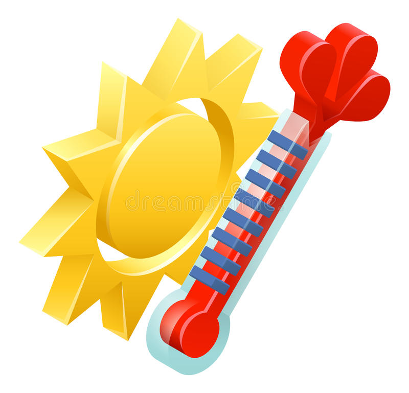Sun and Thermometer Weather Icon Concept stock illustration