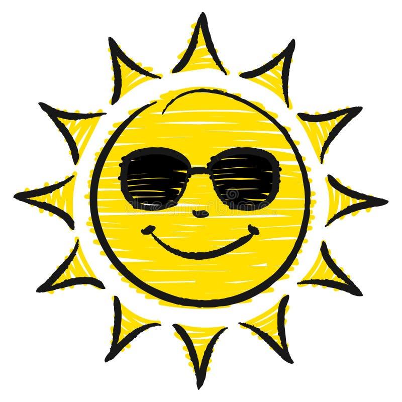 Sun tiré par la main avec des lunettes de soleil jaunes et noires illustration libre de droits