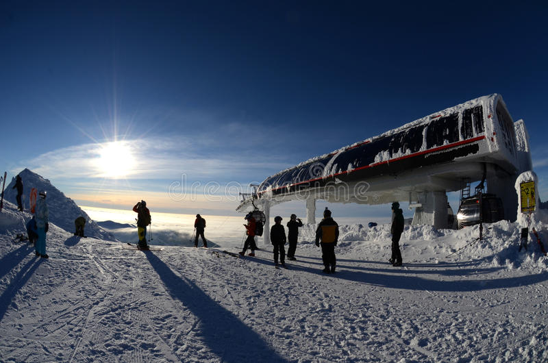 Download Sun on top of the mountain editorial photo. Image of cablecar - 28921521