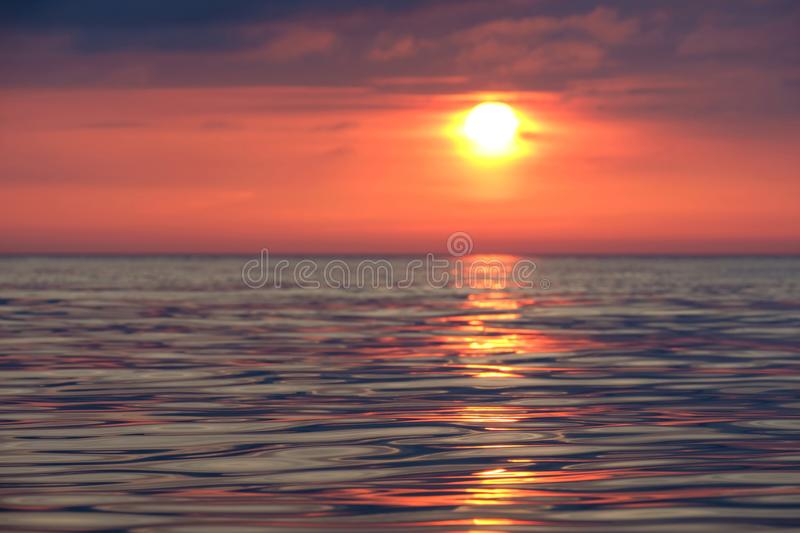 Sun track on the calm sea royalty free stock image