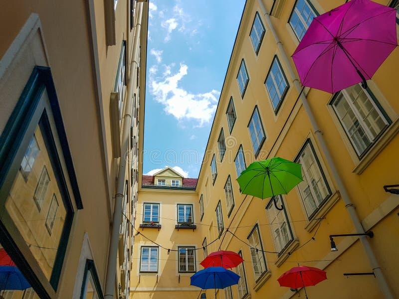 Sun umbrellas in the city stock image