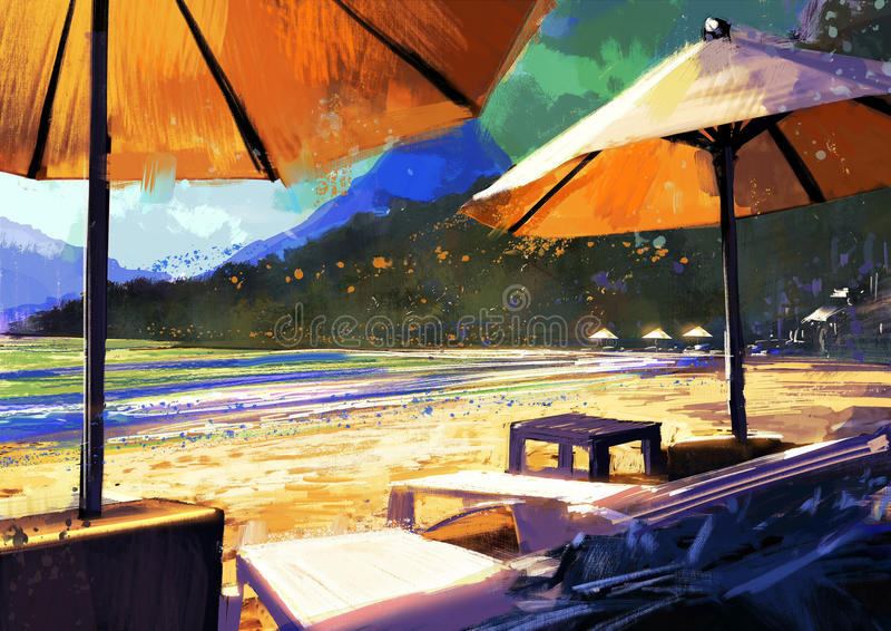 Sun umbrellas and loungers on beach royalty free illustration