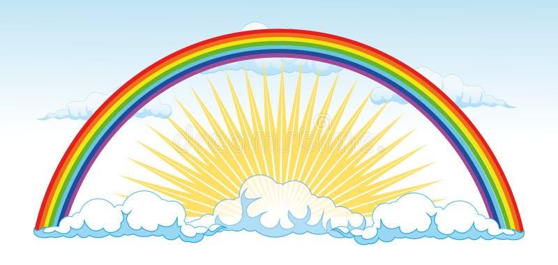 Sun und ein Regenbogen nach dem Regen - vector illustra lizenzfreie abbildung