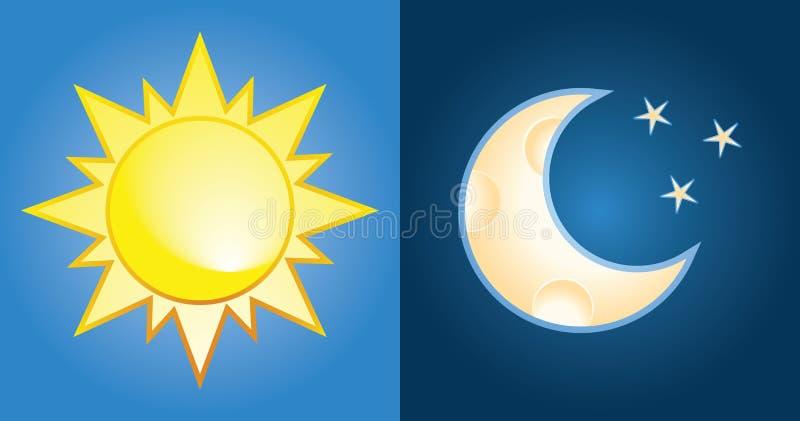 Sun und Mond vektor abbildung
