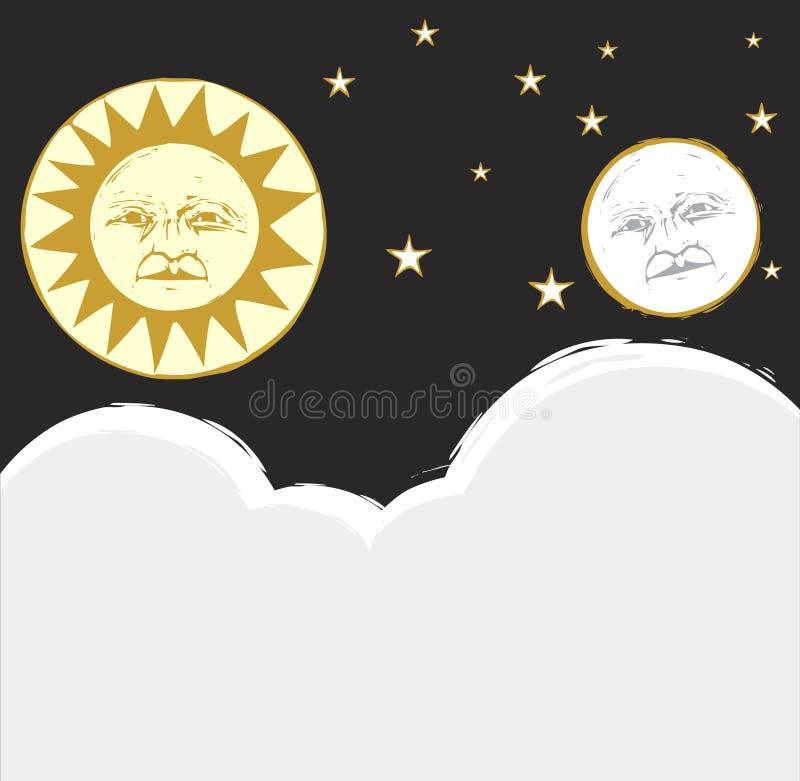 Sun und Mond #2 stock abbildung