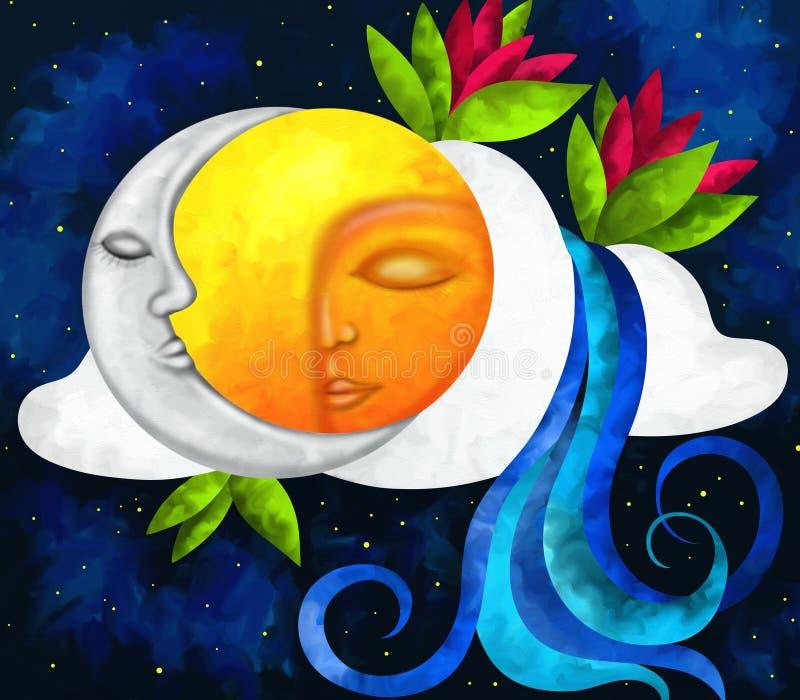 Sun und Mond stock abbildung