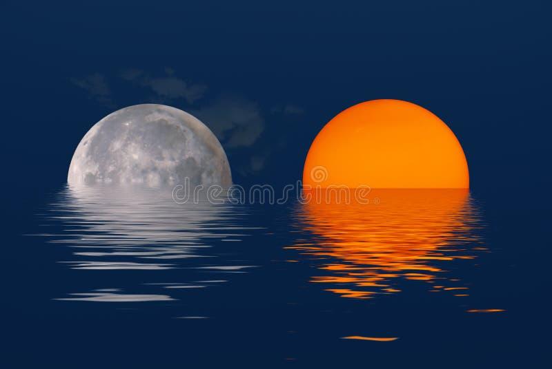 Sun und Mond stockbild