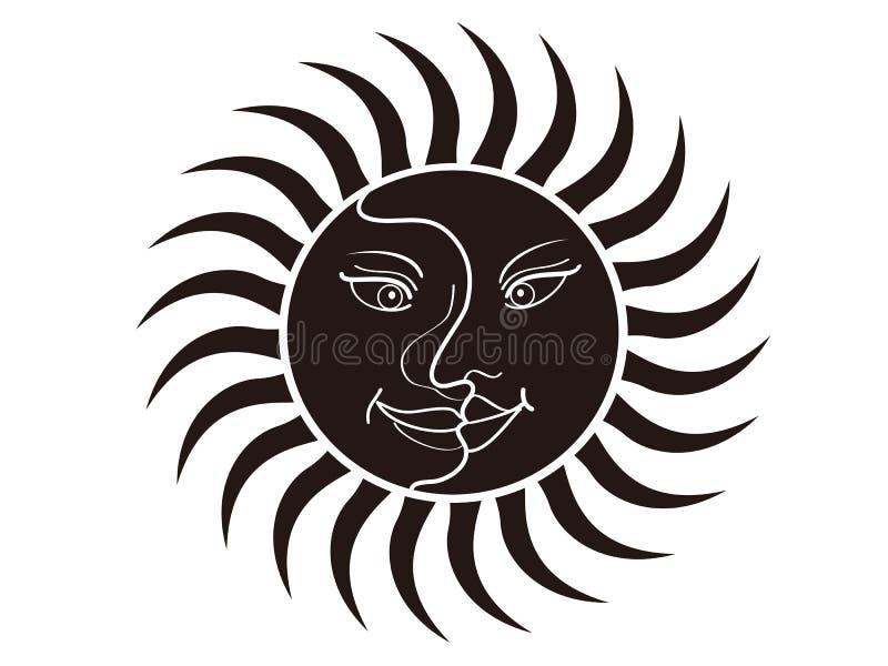 Sun und Mondgesicht stock abbildung
