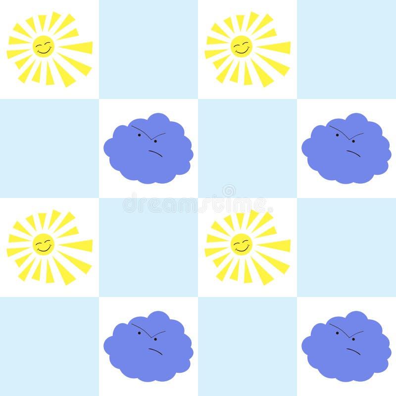 Sun und nahtloses Muster der Wolke stock abbildung