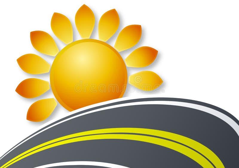 Sun und Straßenlogo lizenzfreie abbildung
