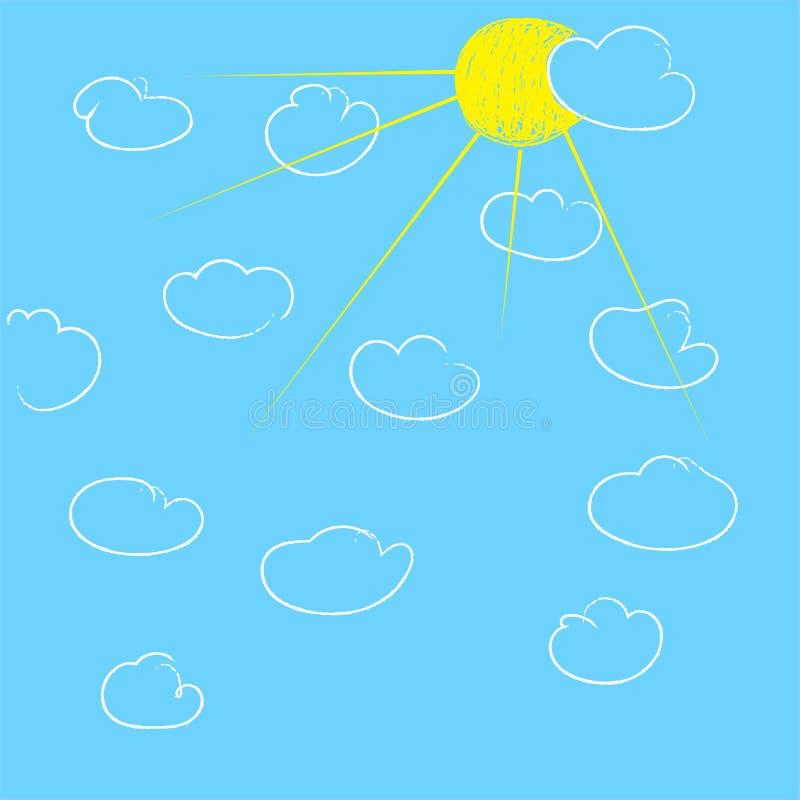 Sun und Wolken auf blauem Himmel lizenzfreie abbildung