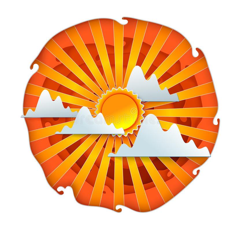 Sun und Wolkenpapierschnitt stock abbildung