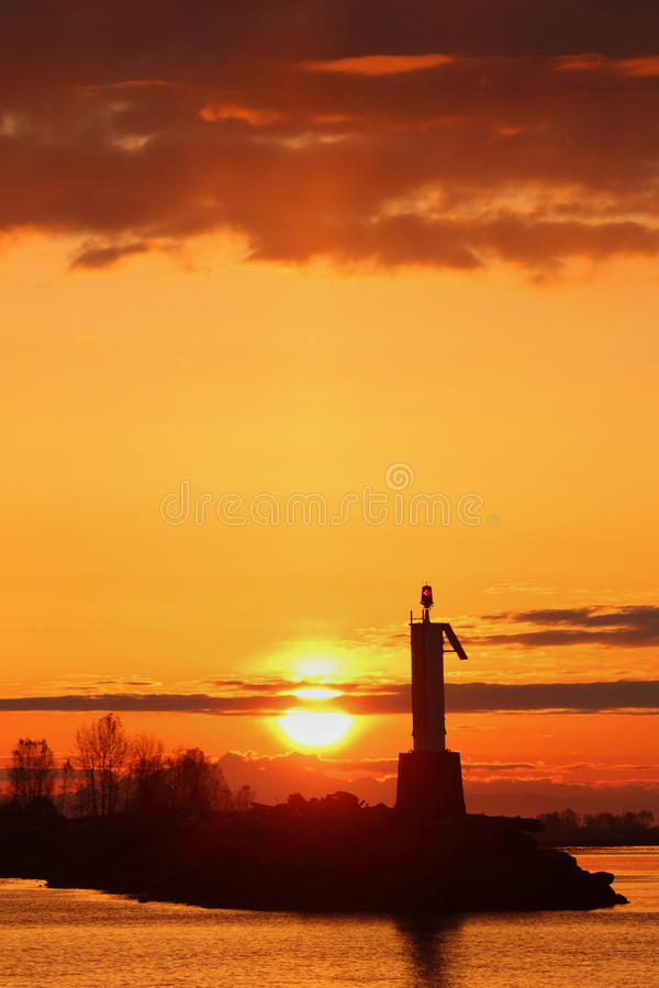 Sun Up, Steveston Harbor, British Columbia vertica royalty free stock photos