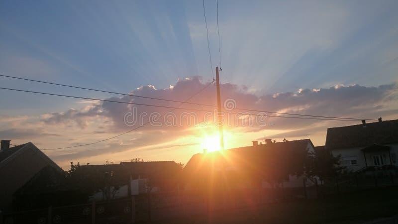 Sun ustawia krajobraz zdjęcia royalty free