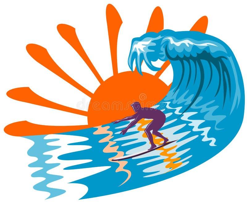 Sun, vague déferlante et surfer illustration stock