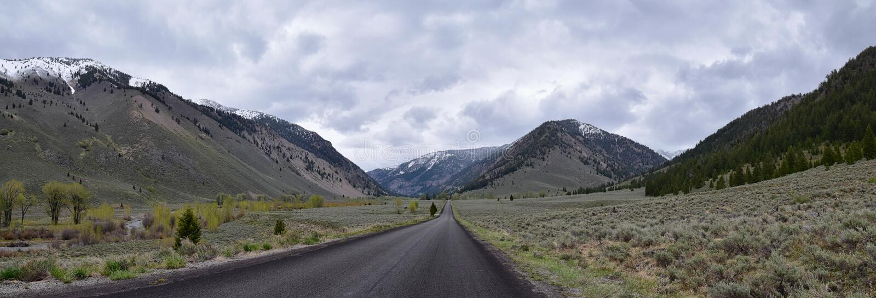 Sun Valley b?verskinnkanjon i f?r Forest Landscape f?r Sawtoothbergmedborgare sikter panorama fr?n slingaliten vikv?gen i Idaho royaltyfria foton