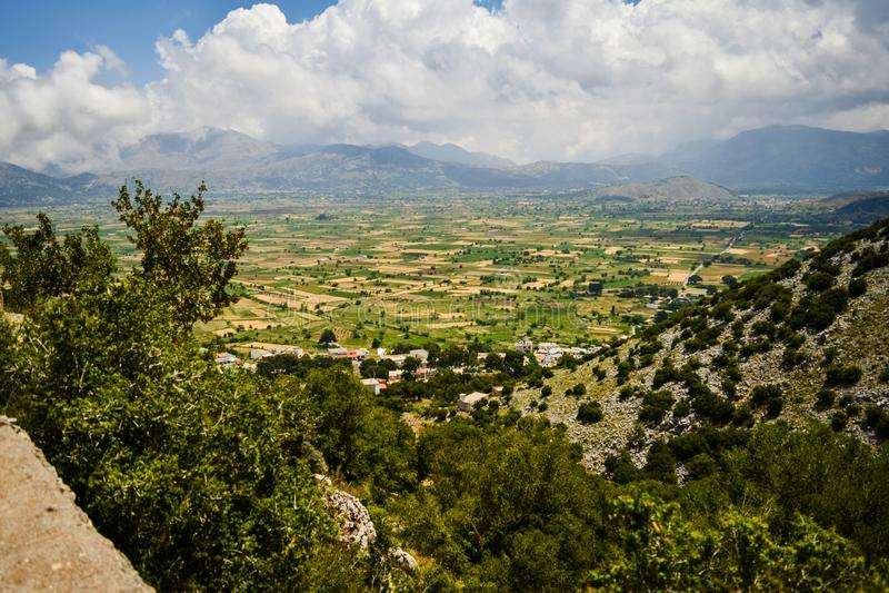 Sun valley of Greece. Beautiful Lassithi Plateau on the island of Crete, Greece. Sun valley of Greece. Lassithi Plateau on the island of Crete, Greece stock photos