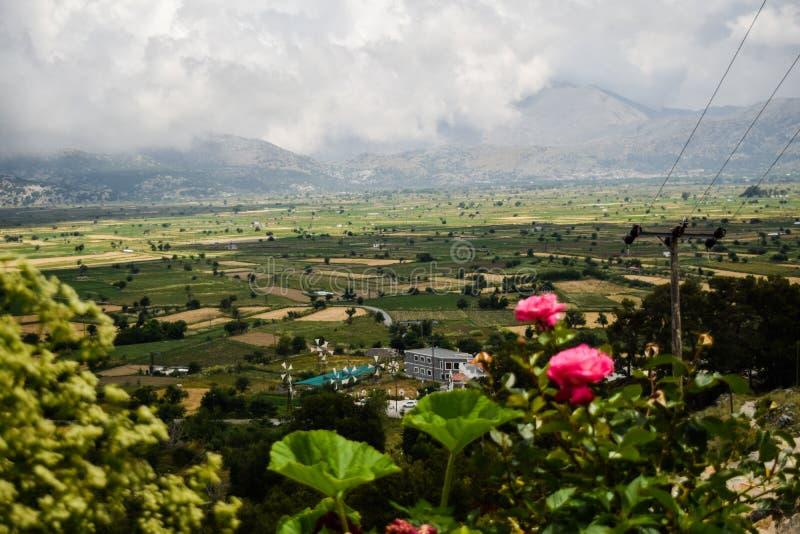 Sun valley of Greece. Beautiful Lassithi Plateau on the island of Crete, Greece. Sun valley of Greece. Lassithi Plateau on the island of Crete, Greece royalty free stock photo