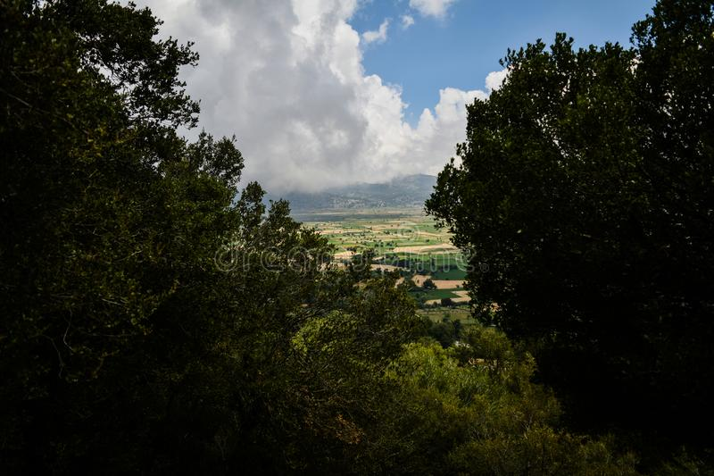 Sun valley of Greece. Beautiful Lassithi Plateau on the island of Crete, Greece. Sun valley of Greece. Lassithi Plateau on the island of Crete, Greece royalty free stock photos