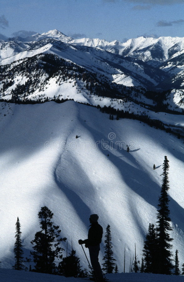 Download Sun Valley Skier In Silhouette Stock Photo - Image: 2070474