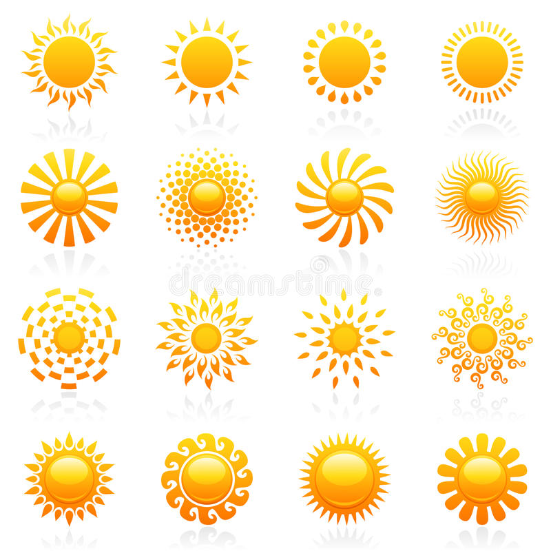 Free Sun. Vector Logo Template Set. Stock Image - 20089861