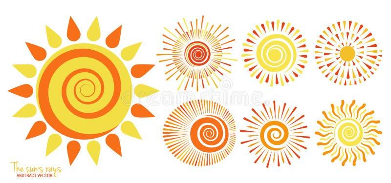 Sun of vector set. Yellow sun icon set isolated on white background. Modern flat illustration sunlight, sun rays, sign. vector illustration