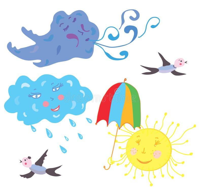 Sun, vent, pluie, temps de nuage drôle illustration de vecteur