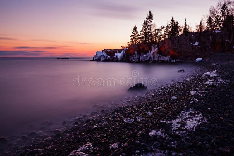 Sunset at Hollow Rock stock image