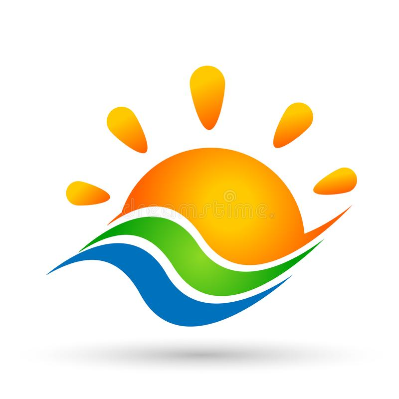 Sun and water wave logo sea wave Ocean beach logo Template vector Clean water concept logo icon element sign on white background vector illustration