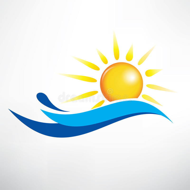 Sun and water wave. Vector symbol royalty free illustration