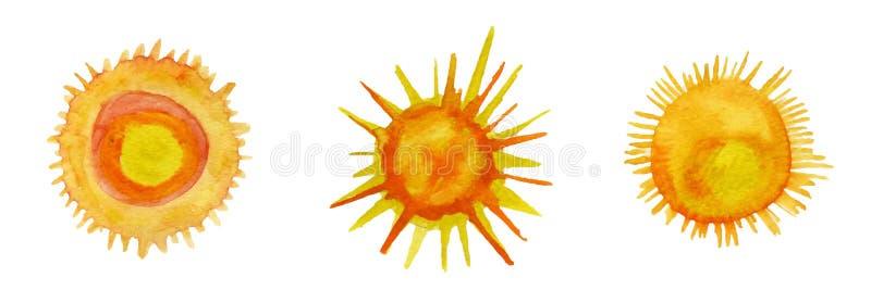 Sun watercolor icons set vector illustration