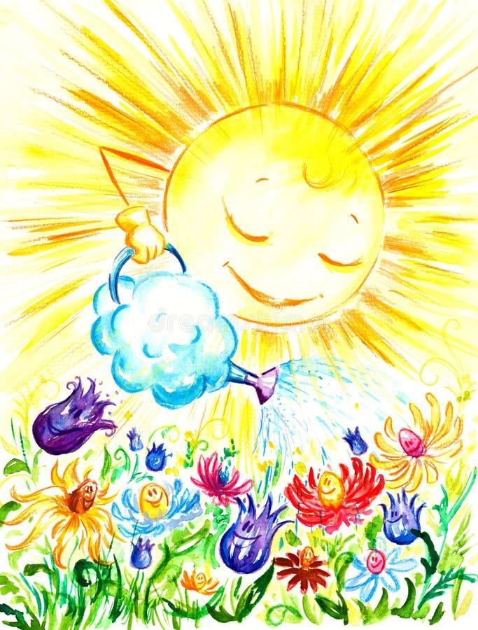 Sun watering flowers. stock image
