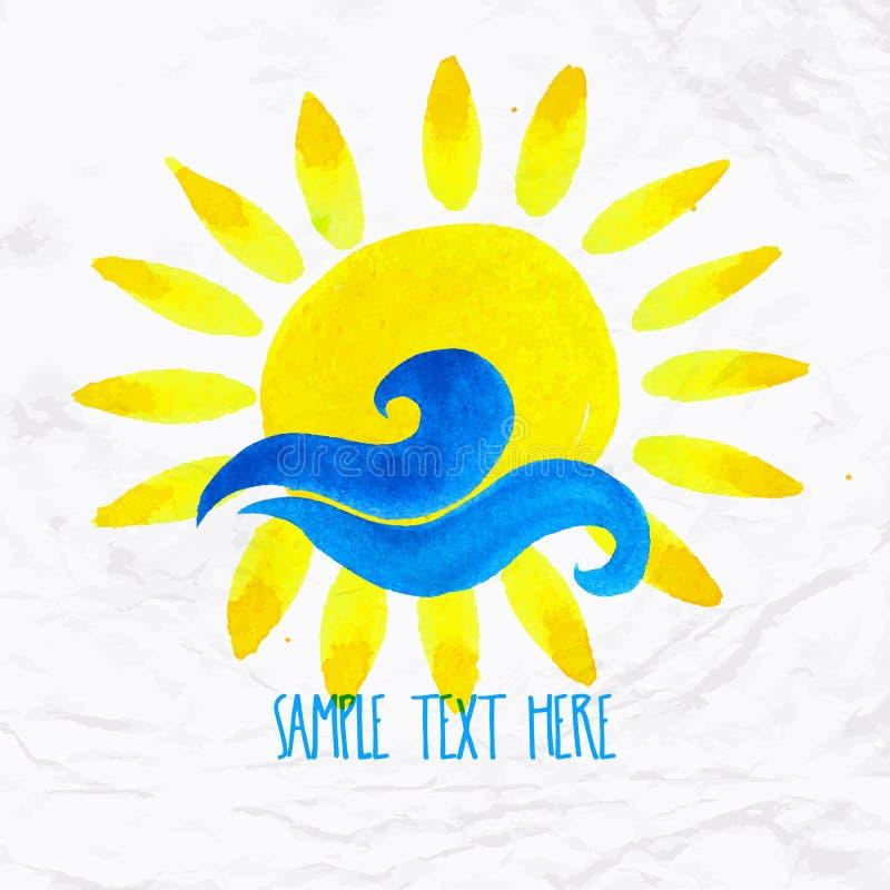 Sun wave ocean illlustration stock illustration