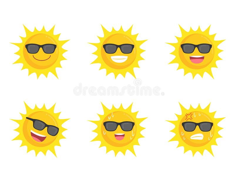 Sun wearing eyes glasses collection icon sign set summer concept. Suns flat symbol, object on a white background, Vector illustration, cartoon vector in flat vector illustration