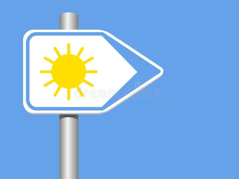 Sun-Wegweiser mit Pool auf einem blauen Hintergrund lizenzfreie abbildung