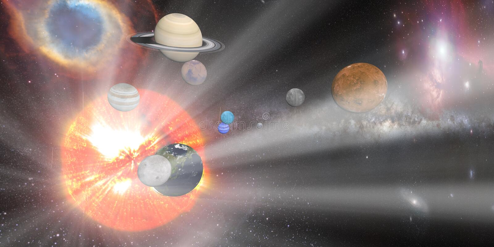 sun white rays with Solar system royalty free illustration
