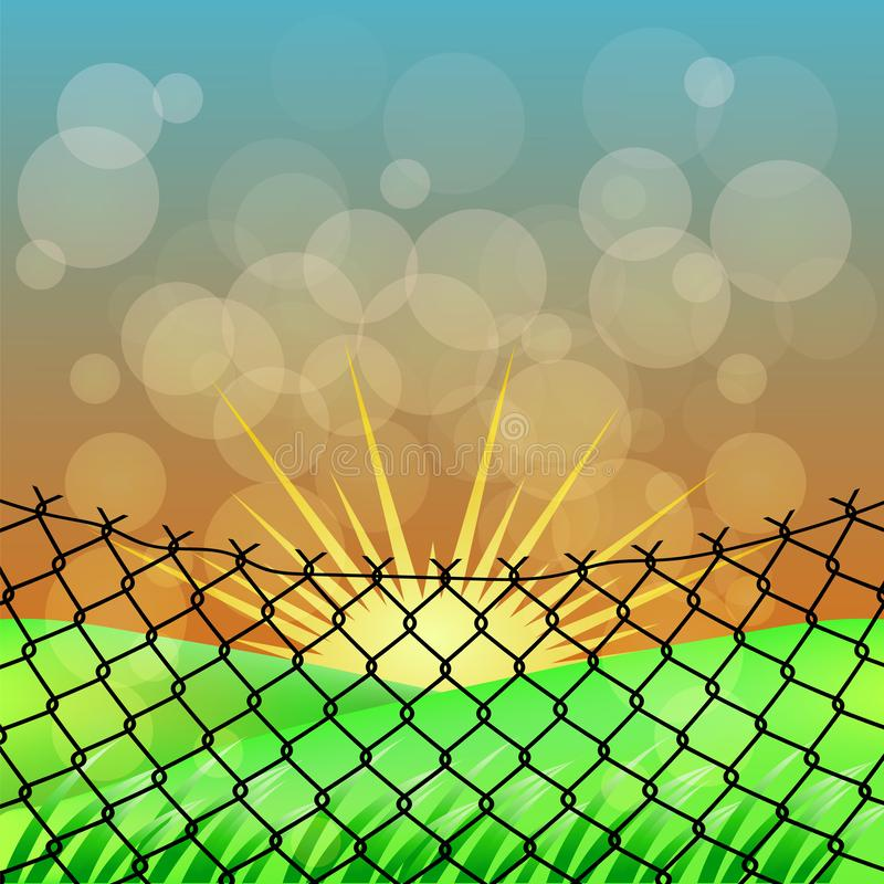 Sun and Wire Barb. Freedom Concept. Peace Day. Sun and Wire Barb on Blurred Background. Freedom Concept. Peace Day royalty free illustration
