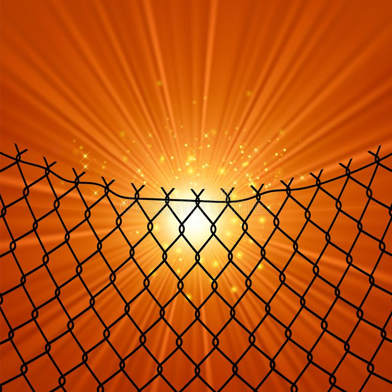 Sun and Wire Barb. Freedom Concept. Peace Day. Sun and Wire Barb on Orange Background. Freedom Concept. Peace Day vector illustration