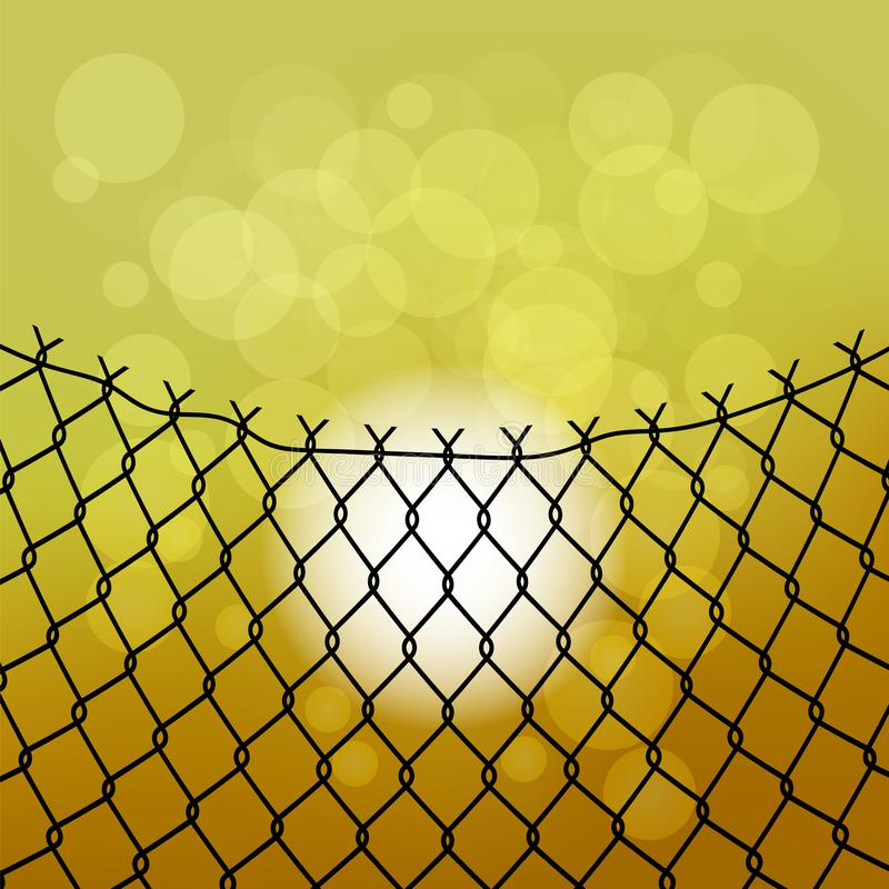 Sun and Wire Barb. Freedom Concept. Peace Day. Sun and Wire Barb on Yellow Background. Freedom Concept. Peace Day royalty free illustration