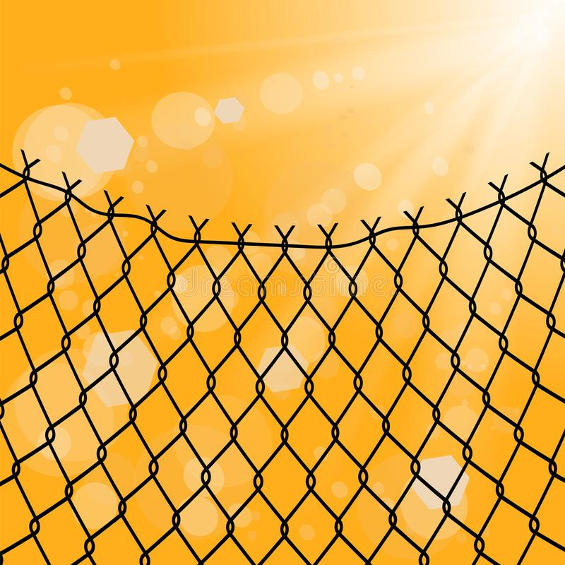 Sun and Wire Barb. Freedom Concept. Peace Day. Sun and Wire Barb on Yellow Background. Freedom Concept. Peace Day stock illustration