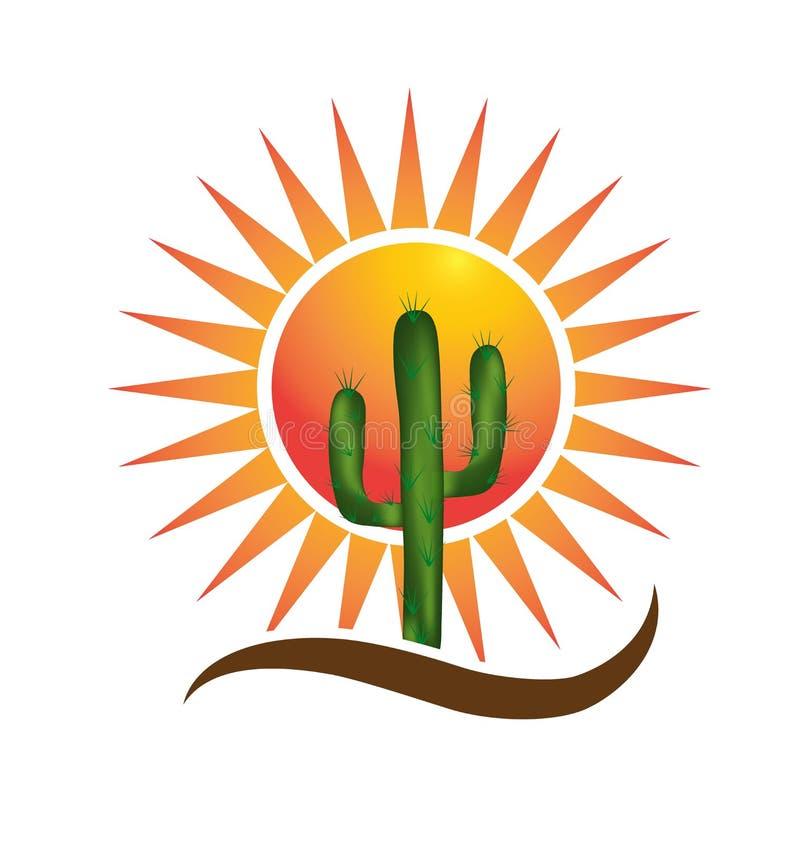 Sun y concepto del desierto del cactus libre illustration